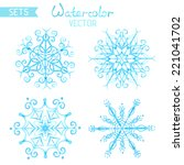 set of watercolour snowflakes.... | Shutterstock .eps vector #221041702