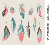 vector set of vintage hand... | Shutterstock .eps vector #221055838