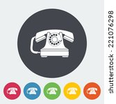 vintage phone. single flat icon ... | Shutterstock .eps vector #221076298