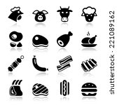 meat black icon set isolated ... | Shutterstock .eps vector #221089162