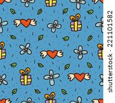 cute doodle hand drawn objects seamless pattern, holiday, heart, present, flower, dots