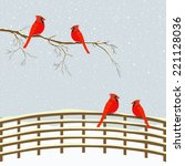 Red Birds On Branch And Fence...