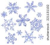 Set Of Watercolor Snowflakes...