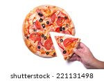 male hand picking tasty pizza... | Shutterstock . vector #221131498