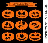 halloween pumpkin with scary... | Shutterstock .eps vector #221132038