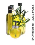 bottle of olive oil with raw...   Shutterstock . vector #221159266