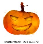 jack o lantern pumpkin with... | Shutterstock .eps vector #221168872