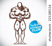 bodybuilder fitness model... | Shutterstock .eps vector #221180116