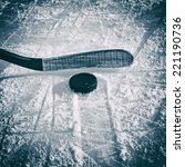 hockey stick and puck on the... | Shutterstock . vector #221190736