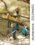 miniature workmen clearing... | Shutterstock . vector #221196652