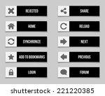 flat black buttons set. vector...