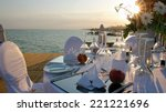 Romantic Table Setting On Pier...