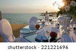 Romantic Table Setting On Pier...
