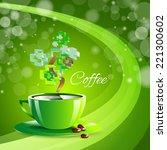 coffee drink green cup beverage ... | Shutterstock .eps vector #221300602