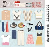 set of flat modern clothes... | Shutterstock .eps vector #221311102