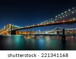 illuminated brooklyn bridge ny... | Shutterstock . vector #221341168