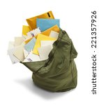 large green mail bag with... | Shutterstock . vector #221357926