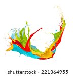 colored splashes in abstract... | Shutterstock . vector #221364955