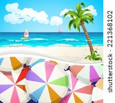 summer beach covered with... | Shutterstock . vector #221368102