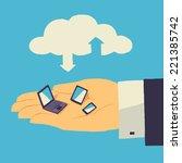 cloud storage over human hand... | Shutterstock .eps vector #221385742