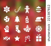 set of 16 christmas flat icons... | Shutterstock .eps vector #221387812