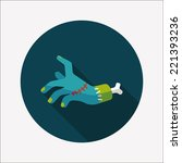 halloween zombie hand flat icon ... | Shutterstock .eps vector #221393236