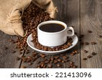 coffee cup and bag with coffee... | Shutterstock . vector #221413096