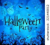 blue halloween invitation cover ... | Shutterstock .eps vector #221440012
