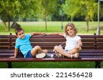little brother and sister... | Shutterstock . vector #221456428