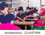 group multiracial factory... | Shutterstock . vector #221457496