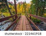 Wooden Trail Bridge in Colorado Aspen Area. Colorado, United States. - stock photo