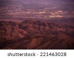 Coachella Valley at Dusk. California, United States. Thermal and Mecca, California City Lights. - stock photo