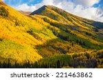 Fall Hills of Colorado. Yellow Aspen Trees Forest near Aspen, Colorado, USA - stock photo