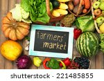 fresh organic vegetables with... | Shutterstock . vector #221485855