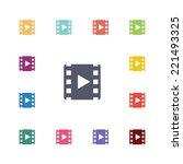 video flat icons set. open... | Shutterstock .eps vector #221493325