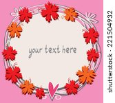 pink cute floral frame with... | Shutterstock .eps vector #221504932