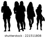 silhouette young girls on white ... | Shutterstock .eps vector #221511808