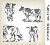Milk Cow Set. Hand Drawn Vecto...