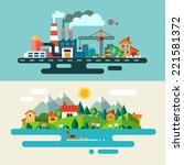 urban and village landscape.... | Shutterstock . vector #221581372