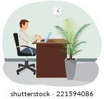 a programmer sits in the chair... | Shutterstock .eps vector #221594086