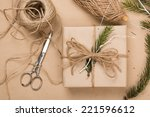wrapping eco christmas packages ... | Shutterstock . vector #221596612