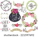 hand drawn romatic flower... | Shutterstock .eps vector #221597692