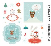 set of christmas vector... | Shutterstock .eps vector #221598526