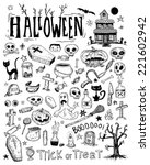 halloween doodles elements.... | Shutterstock .eps vector #221602942