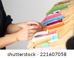 fashion clothes on shelves in... | Shutterstock . vector #221607058
