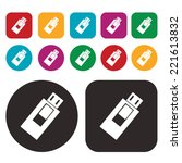 usb flash drive web icon .... | Shutterstock .eps vector #221613832