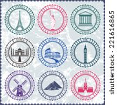 stickers and icons of travel.... | Shutterstock .eps vector #221616865