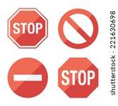 Stop Sign  Set. Flat Design....