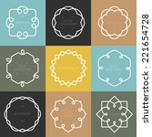 vector set of outline emblems... | Shutterstock .eps vector #221654728