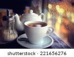 tea in the cafe showcase city | Shutterstock . vector #221656276